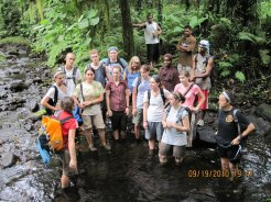 UW undergrads get instructions before surveying the freshwater swamp in Yela, Kosrae