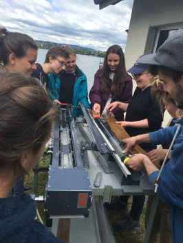 ETH undergrads prepare to open a sediment core from Lake Greifen, Switzerland
