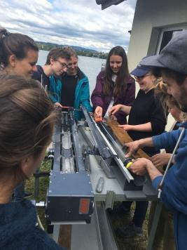 ETH undergrads prepare to open a sediment core from Lake Greifen, Switzerland